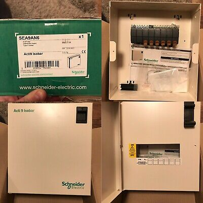 Schneider SEA9AN6 Acti 9 Isobar 6 Way Single Phase Distribution Board