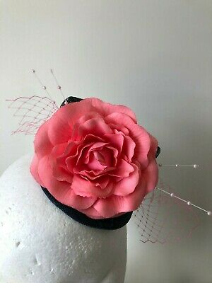 New navy blue fascinator with coral flower, pink netting and beads