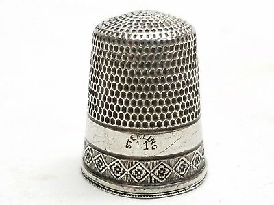 ANTIQUE SIMONS BROTHERS BEADED Floral SIZE 11 STERLING SILVER SEWING THIMBLE