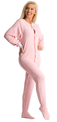4da37efe7d Pink Terry Cloth Footed Pajamas - Adult Sized Snap Closure PJ for Men    Women