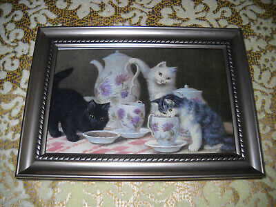 3 CATS SERVE TEA 4 X 6 silver framed art print Victorian style animal picture