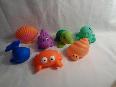 09f7dc495416d Elegant Baby Sea Party Bath Toys Squirtie Set w  Vinyl Pouch 7 Rubber  Figures