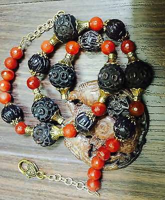 Chinese Carved Antique Prayer Beads Carnelian Necklace Two Phoenix Birds Jade