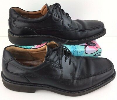 17ce9056fe4 Men s Ecco Size 42 8-8.5 Black Leather Laced Dress Oxfords Shoes Shock Point