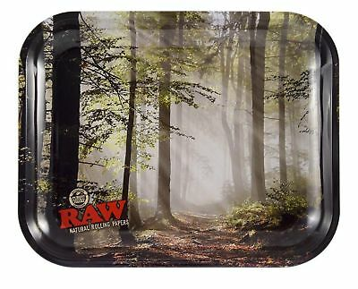 """RAW """"Smokey Forest Trees Tray"""" - Rolling Papers Large 13.5"""" x 11"""" w/ Certificate"""