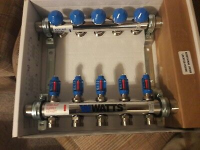 Watts FlowMaster Stainless Steel Manifold 5-Branch  FM5S  Brand New - Radiant