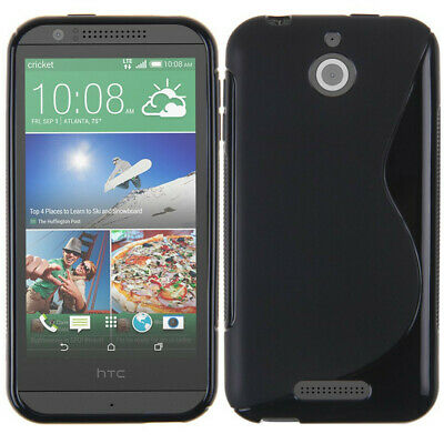For HTC Desire 510 TPU S Line Silicone Gel Skin Cover Case -Frosted/Clear, Black
