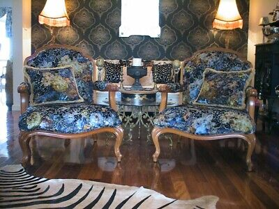 2 Designers Guild Huge French Arm Chairs Stencil Etched Damask Zambelli Velvet