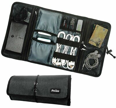 ProCase Travel Gear Organiser Electronics Accessories Bag Small Carry Case Black