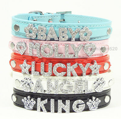 New Personalized Pet Dog Cat Puppy Collars Rhinestone DIY Letter Name Charms
