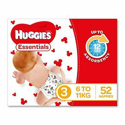 Huggies Essentials Nappies Size 3 Crawler (6-11kg) 52 Count