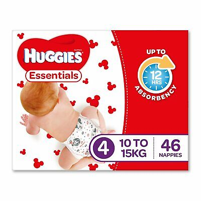 Huggies Essentials Nappies Size 4 Toddler (10-15kg) 46 Count