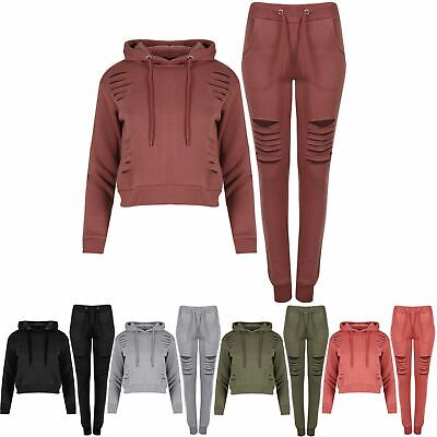 Womens Girls Laser Jogger Hoody CutOut Long Sleeve Cropped Cuffed Track Suit Set