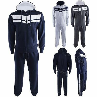 Kids Boys Girls Stripes Running Jogging Gym Zipped Hoodie Sweatpants Tracksuit