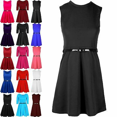 RAINBOW SKATER SLEEVELESS PARTY FIT FLARE BELTED SUMMER DRESS AGES 7-13 YEARS