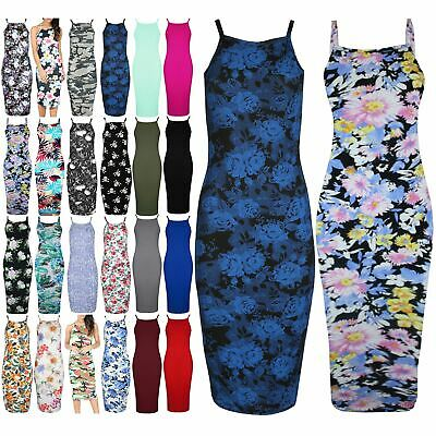 Womens Ladies Floral Flowers Summer Strappy Cami Bodycon Midi Dress Plus Size