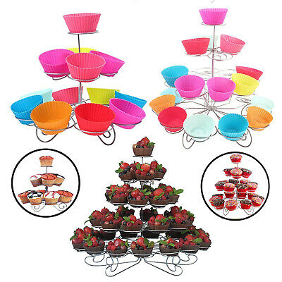 3/4/5 Tier Metal Cupcake Stand Muffin Holder Wedding Birthday Party Table Decor