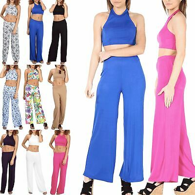 Women's Ladies Girls Halter Neck Cropped Top Palazzo Trousers 2 Piece CoOrd Set