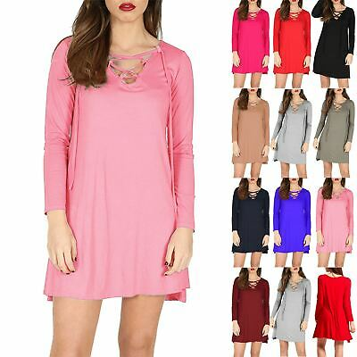 Ladies Womens Eyelet Lace Up Long Sleeve Mini Bodycon Flared V Neck Swing  Dress e7a3bd2de