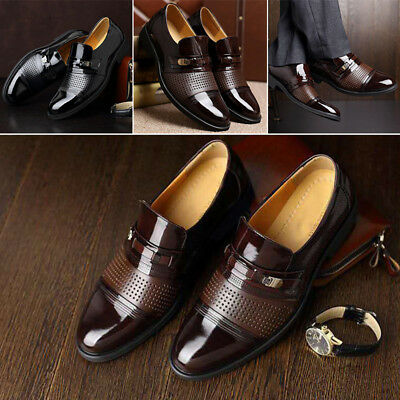 New Men Hollow PU Faux Leather Dress Shoes Wedding Party Business Formal Fashion