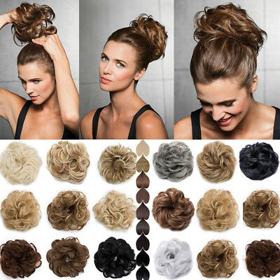 UK Extra Thick Curly Messy Bun Scrunchie Ponytail Hair Extensions Hair Piece AAC