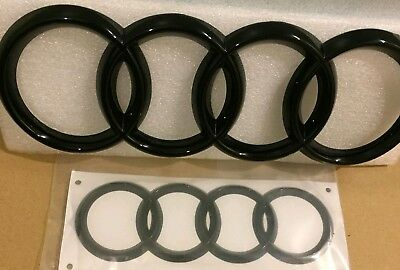 TT AUDI Black Gloss REAR & FRONT RINGS BADGE EMBLEMS BONNET + BOOT for TT