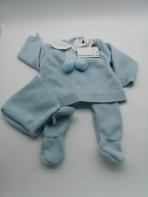 Spanish/Portuguese Blue Knitted Lace & Pom Pom Suit  - Gift Boxed NEWBORN
