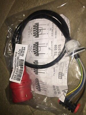 5 Pole  3 Phase Inverter Red 400/16A Cable Plug 0.7metre Of Cable