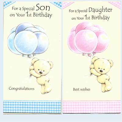 Son 1st First Birthday Card Or Daughter