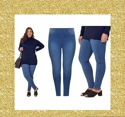 Girls Womens 16-32 New Pull On Stretch Denim Faded Blue Jegging Jeans Ladies