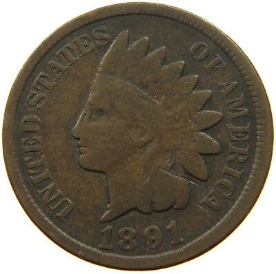 UNITED STATES CENT 1891 INDIAN HEAD #qe 415