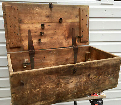 Vintage Antique Rustic Carpenter's Wooden Tool Box Trunk Chest Lots of Wear
