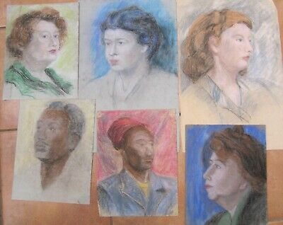 MID 20th CENTURY, Six Pastel Drawings, PORTRAITS
