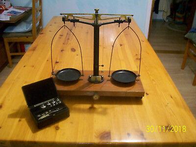 ANTIQUE LABORATORY SCALES  A . Gallencamp & Co. Ltd. with weights