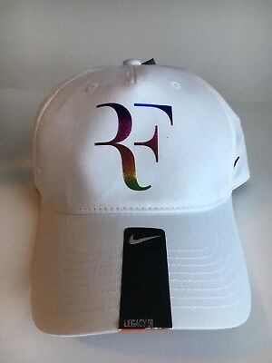 a0a261677cf Nike Roger Federer RF Tennis Hat Cap Strap Dri-Fit White Iridescent 835536 -100