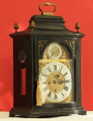 ANTIQUE ENGLISH 18th CENTURY VERGE 8 DAY TWIN FUSEE EBONISED BRACKET CLOCK