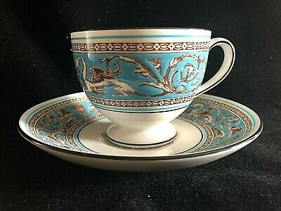 Wedgwood FLORENTINE Turquoise Cup and Saucer