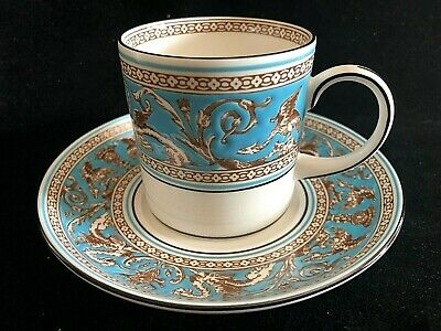 Wedgwood FLORENTINE Turquoise Coffee Can Cup and Saucer