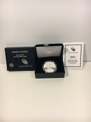 2012 U.s. Silver American Eagle Proof Coin In Ogp W/coa! Beautiful Example!