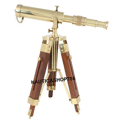 Maritime Antique Brass Telescope With Brown Wooden Desk Stand Home Decor