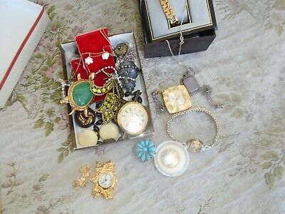 Mixed Lot Of Antique Vintage Costume +Sterling+ 14K, Gold,jewelry