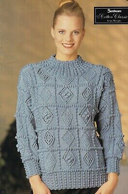 38359f864dd84d Womans~Diamond Sampler Patch~Sweater~Aran Knitting Pattern Size 30