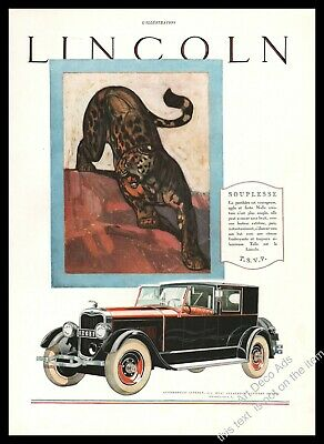 1927 Lincoln Black Panther & Yellow Original print ad - Z1
