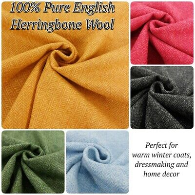 Abraham Moon Classic Herringbone Pure 100% English Lambs Wool Dressmaking Fabric