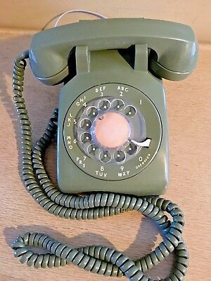 Vintage Rotary Desk Telephone, Avocado Green, Long Cord, Western Electric 500