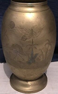 Antique Japanese Meiji Period Bronze Brass Vase
