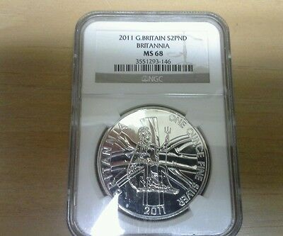 2011 Great Britain 1Oz Fine Silver2 Pound Coin NGC MS68