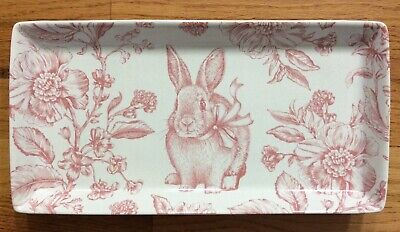 222 Fifth OAKLEY PINK FLORAL BUNNY RABBIT SERVING PLATTER TRAY EASTER