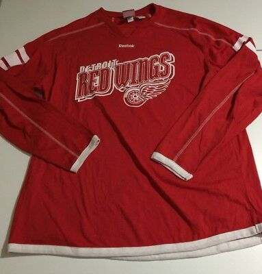 ac53666e59c Reebok NHL Detroit Red Wings Men s XL Red Long Sleeve Shirt Face off  Collection