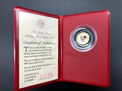 1996  MICKEY MOUSE LUNAR SERIES - 3g GOLD PROOF COLOURED COIN - THE PERTH MINT -
